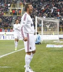 Beckham scores for AC Milan